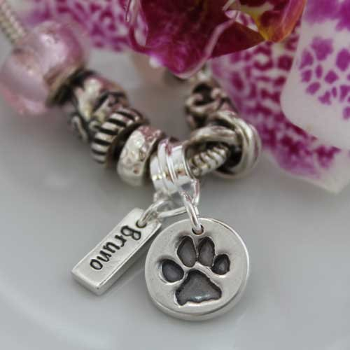 Pawprint Dainty Charm With Name Tag