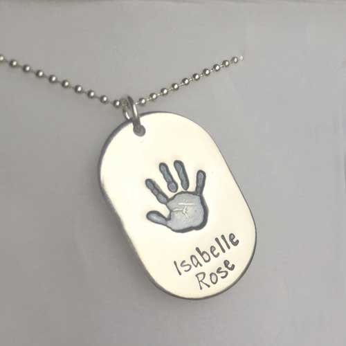 Dog Tag Hand or Footprint Necklace